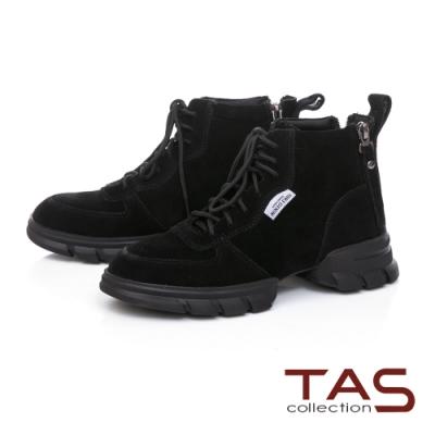 TAS素面牛麂皮造型綁帶側拉鍊厚底休閒鞋-個性黑