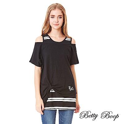 Betty Boop貝蒂 燙鑽抓縐造型兩件式條紋上衣(共兩色)