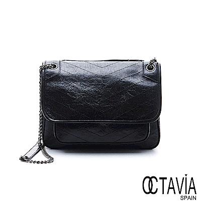 OCTAVIA 8 真皮 - 北極星 冰裂牛皮時尚手拿肩背包 - 天蠍黑