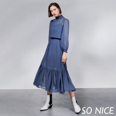 SO NICE唯美抽皺小高領雪紡長洋裝