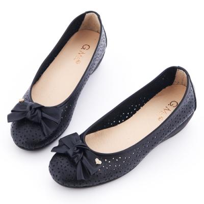 G.Ms. MIT系列-金飾蝴蝶結鏤空坡跟娃娃鞋-黑色