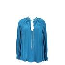 Michael Kors 鏤空鍊飾設計孔雀藍絲質襯衫