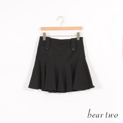 beartwo-俏麗拼接迷你波浪圓裙-黑