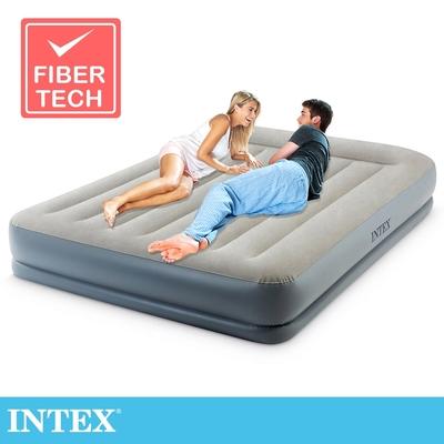 INTEX 舒適雙層內建電動幫浦(fiber tech)雙人加大充氣床墊-寬152cm-有頭枕(64117ED)