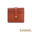 LouiseC. 植鞣牛皮 多層釦式 輕薄卡片短夾-經典棕 WI7012-03