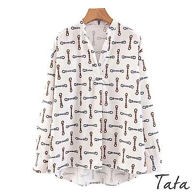 前短後長印花襯衫 TATA