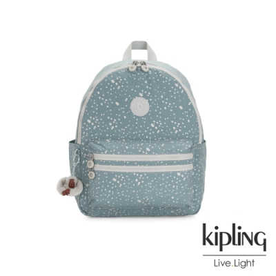 Kipling 純淨粉藍雪花拉鍊後背包-BOUREE