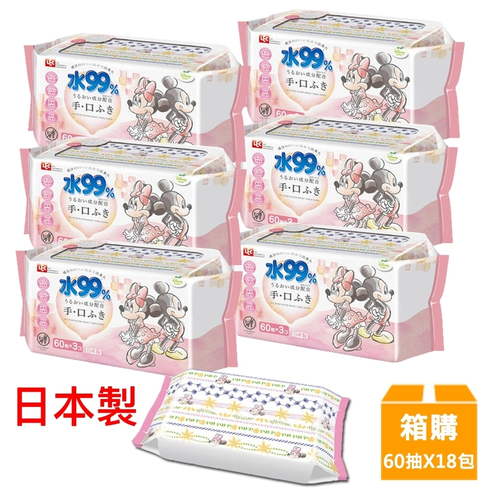 日本LEC 新款迪士尼米奇米妮-口手專用純水99%濕紙巾箱購-60抽x18包入