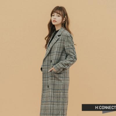 【周慶限量款】H:CONNECT 韓國品牌 女裝-格紋毛呢長版大衣-灰