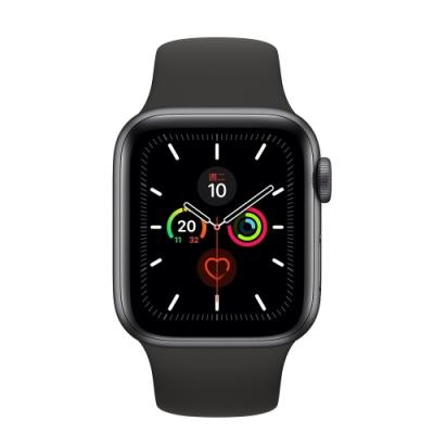 [無卡分期-12期]Apple Watch Series5(GPS+網路)44mm太空灰鋁錶殼黑錶帶
