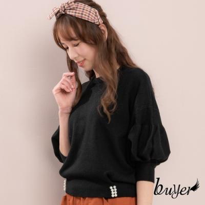 【白鵝buyer】韓版加厚款優雅泡泡袖珍珠下擺毛衣(黑色)