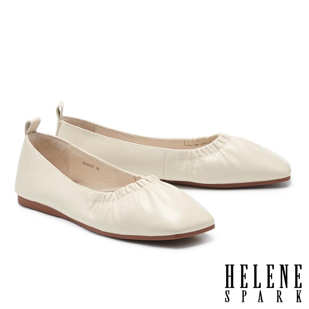 平底鞋 HELENE SPARK 極簡質感抓皺全真皮方頭平底鞋-白