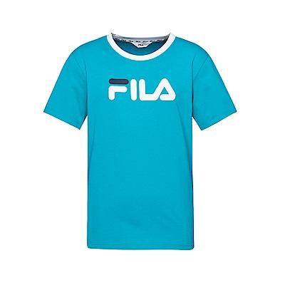 FILA 男款短袖圓領T恤(合身版)-藍綠 1TET-1508-TQ
