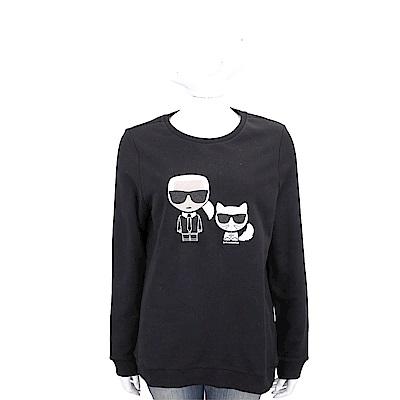 KARL LAGERFELD 墨鏡卡爾貓咪刺繡補丁黑色棉質運動衫