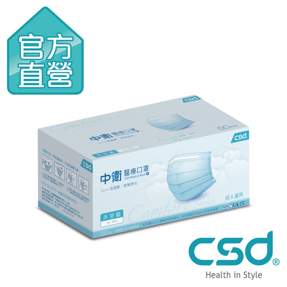 [限搶]CSD中衛 醫療口罩-天空藍(50片x 1盒入)