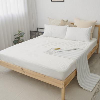 BUHO布歐 防蹣透氣針織複合防水5尺雙人飯店民宿純白床包/保潔墊+枕套三件組