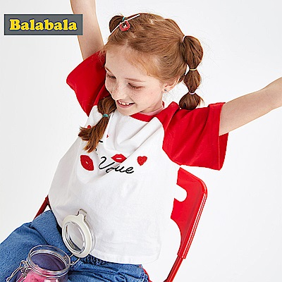 Balabala巴拉巴拉-紅脣造型印花短袖T恤-女(2色)