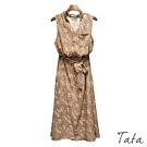 復古V領小花排扣雪紡洋裝(附綁帶) TATA-F
