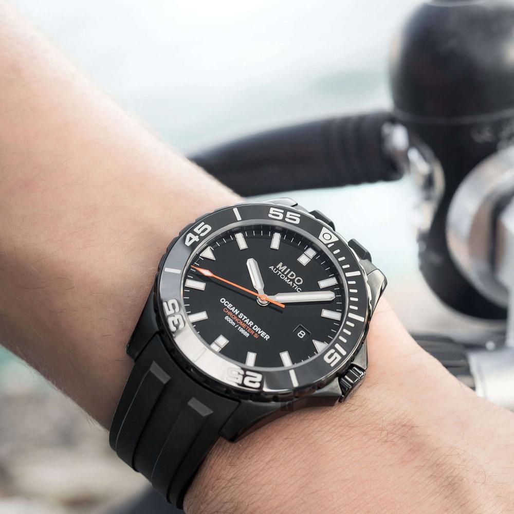 MIDO 美度 Ocean Star 海洋之星深潛600米陶瓷潛水錶-鍍黑