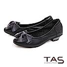 TAS 抓皺蝴蝶結素面羊皮娃娃粗跟鞋-典雅黑