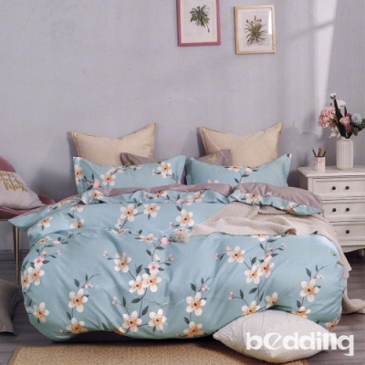 BEDDING-植物花卉純棉兩用被套-月下花事-藍-6X7尺