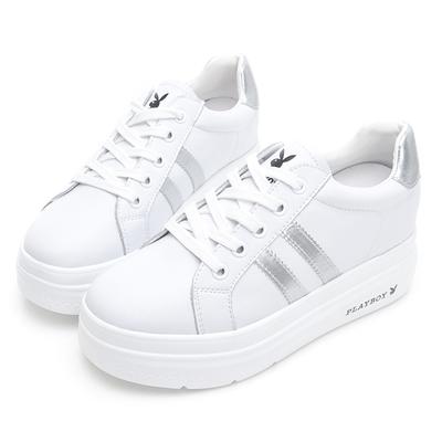 PLAYBOY  閃耀絢彩 輕量厚底小白鞋 -白銀-Y73051E
