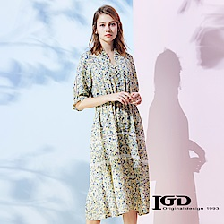 IGD英格麗 復古碎花外罩式洋裝-黃