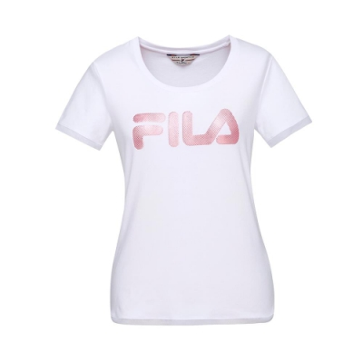 FILA 女款短袖圓領T恤-白色 5TET-1454-WT