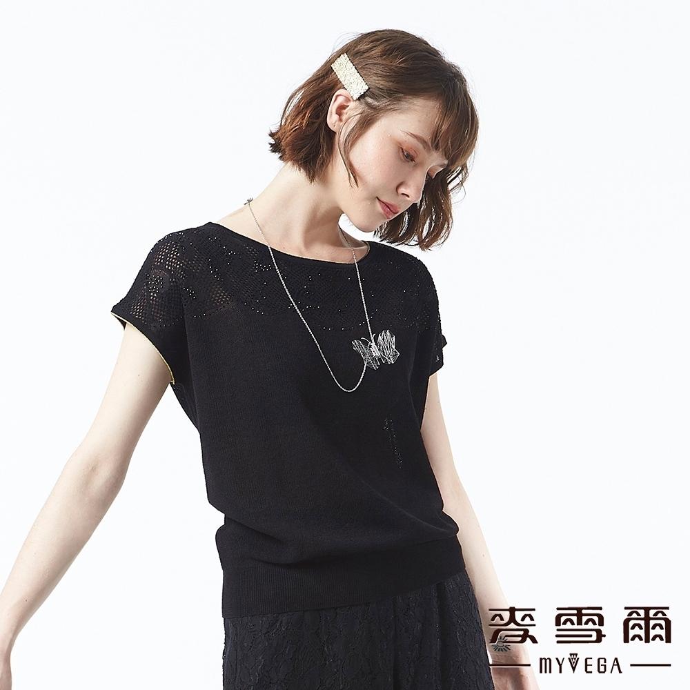 麥雪爾 古典花雕簍空燙鑽針織衫-黑