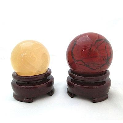 原藝坊 天然招財開運黃冰晶(直徑35mm)紅碧玉(直徑43mm)圓球+木製底座