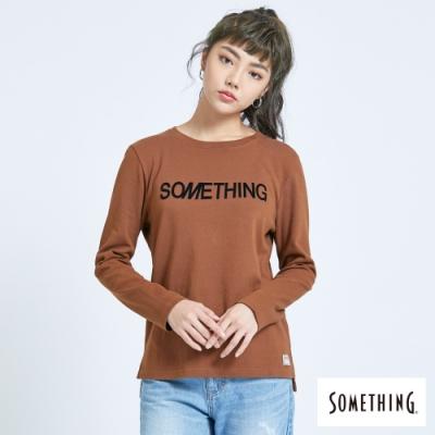 SOMETHING 馬毛LOGO印花 薄長袖T恤-女-咖啡色
