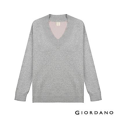 GIORDANO 女裝V領素色寬版長袖針織衫-03 中花灰/薄紗粉紅