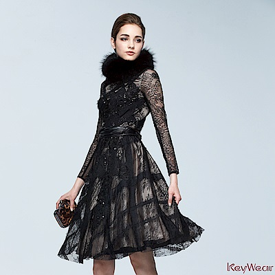 KeyWear奇威名品    高級訂製款浪漫禮服洋裝-黑色