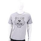 KENZO Tiger 虎頭印花撞色邊灰色棉質T恤