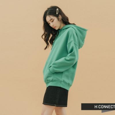H:CONNECT 韓國品牌 女裝-純色素面抽繩帽T-綠
