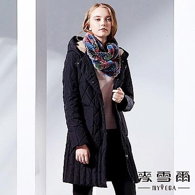 【麥雪爾】立體菱格長版羽絨連帽外套-黑