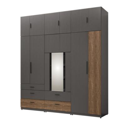 文創集奈洛比 現代7.5尺多功能開門加高衣櫃/收納櫃組合(可旋轉穿衣鏡面)-225x58x257cm免組