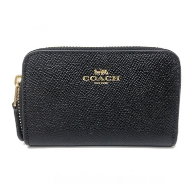 COACH 單層ㄇ型卡片零錢包(全皮-黑)