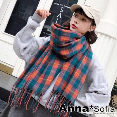 AnnaSofia 毛邊繽綺格線 仿羊絨大披肩圍巾(綠橘系)