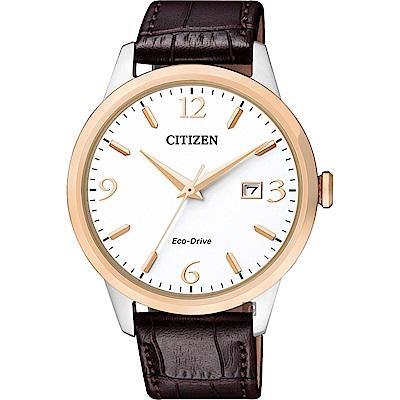 CITIZEN 星辰 光動能紳士手錶-玫瑰金圈x咖啡/40mm(BM7304-16A)