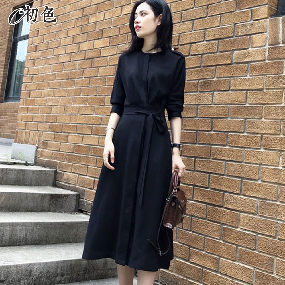 初色  赫本風簡約連身裙-黑色-(M-2XL可選)