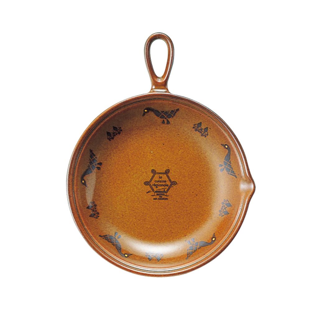 日本Meister Hand COOKPAN 單柄陶製烤盤 棕色鴨
