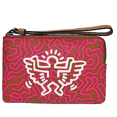 COACH  Keith Haring聯名PVC拉鍊萬用手拿包(咖桃/人形)