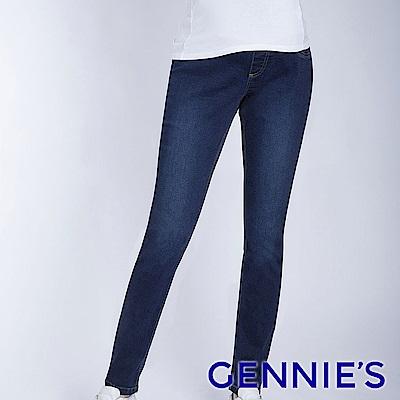 Gennies專櫃-彈力刷色窄管牛仔褲-深牛仔藍(T4F08)