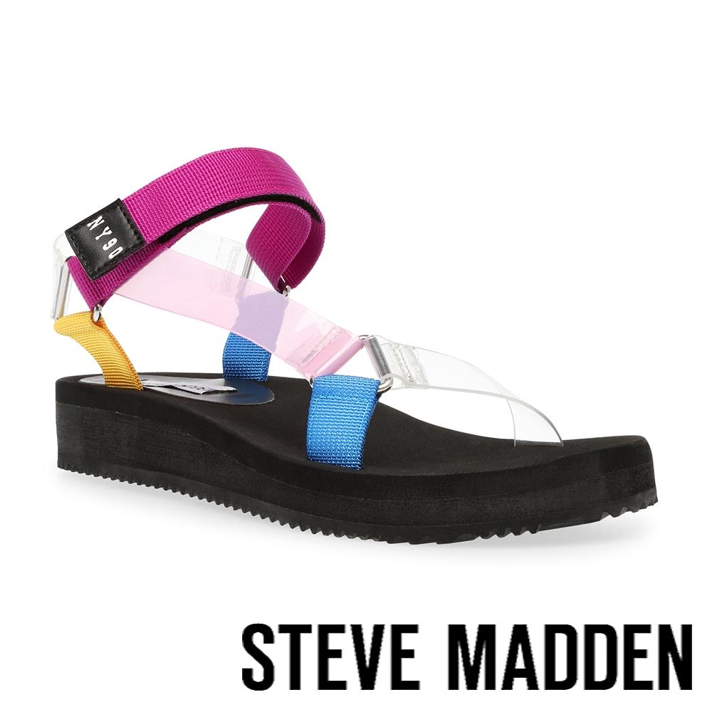 STEVE MADDEN-HENLEY 戶外款交叉魔鬼氈厚底涼鞋-彩色