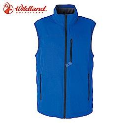 【Wildland 荒野】男防潑水防風保暖背心深藍色