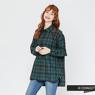 H:CONNECT 韓國品牌 女裝-貼布拼接格紋襯衫-綠