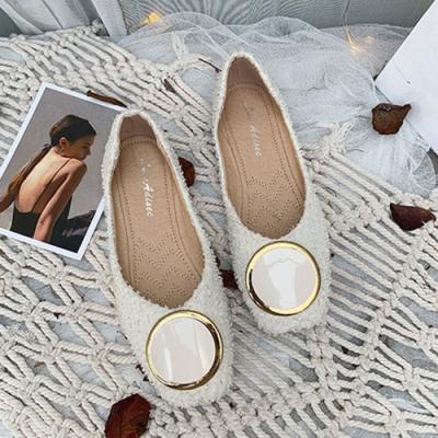 KEITH-WILL時尚鞋館 流行穿搭森系優雅方頭鞋-米