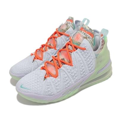 Nike 籃球鞋 Lebron XVIII EP 運動 男鞋 詹姆斯 氣墊 Goat 鞋舌報紙印花 藍 綠 CQ9284-401