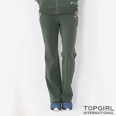 【TOP GIRL】圖騰提花拼接休閒長褲 - 深墨綠